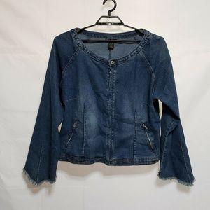 Ashley Stewart Denim Jacket Size 20W Zip Front Zip